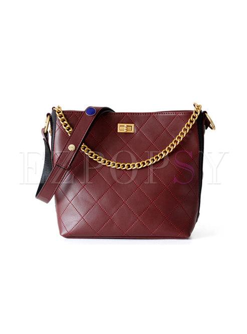 Fashion Wine Red Cowhide Clasp Lock Chain Bucket Bag