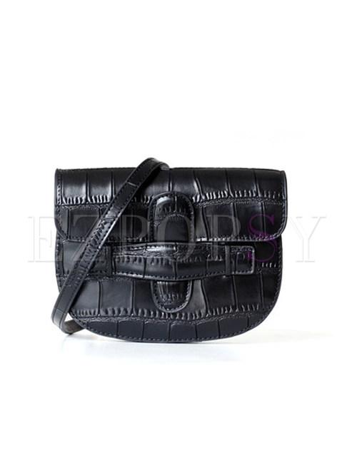 Fashion Black Crocodile Pattern Crossbody Bag