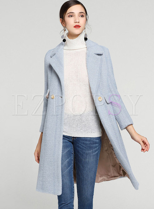 Elegant Blue Turn Down Collar Knee-length Woolen Coat