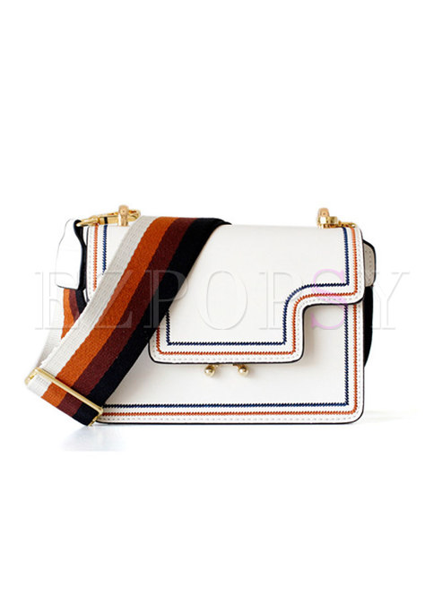 Chic Hit Color Wide Strap Accordion Crossbody Bag