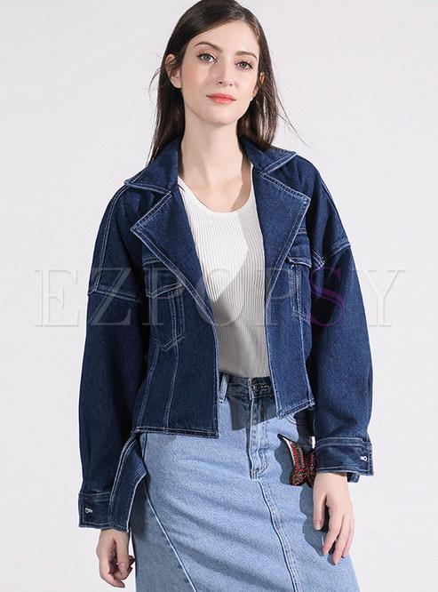Notched Loose Long Sleeve Denim Short Coat