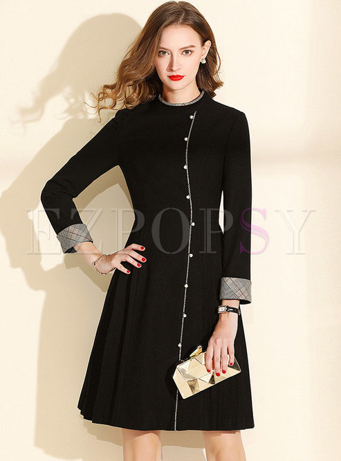 Chic Splicing Stand Collar Beaded Skater Dress