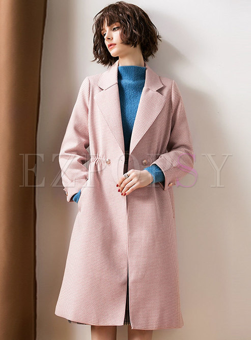 Winter Pink Notched Gathered Waist Hairy Coat