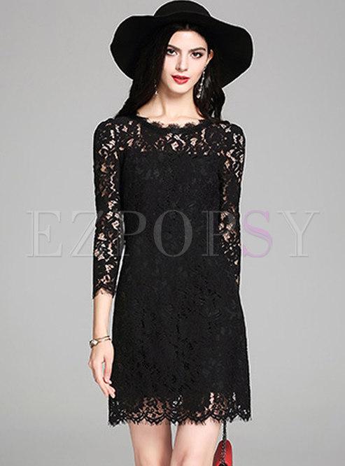 Elegant Black O-neck See-through Sheath Lace Dress