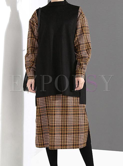 Loose Long Sleeve Plaid Slit Dress & Irregular Vest