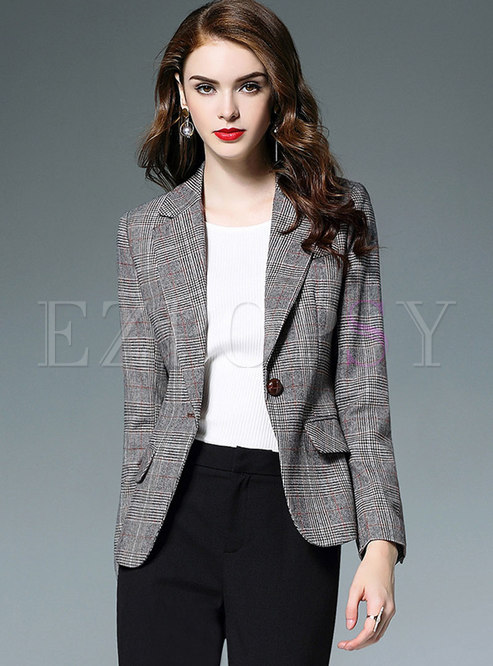 Elegant PU Splicing Notched Slim Blazer