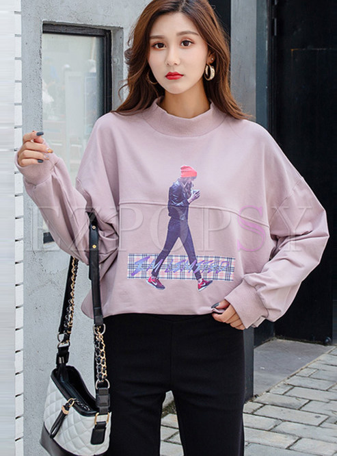 Casual Loose Character Print Long Sleeve Sweatshirt