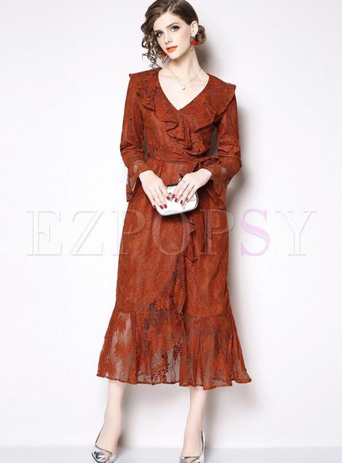 V-neck Long Sleeve Falbala Waist Bodycon Slit Dress