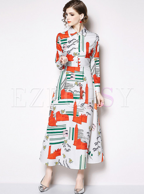 Court Lapel Long Sleeve Floral Single-breasted Maxi Dress