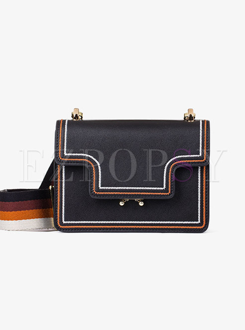 Chic Black Hit Color All-matched Accordion Crossbody Bag
