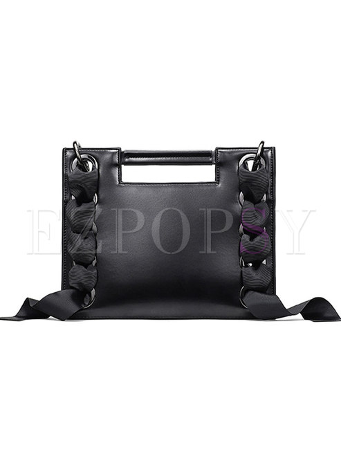 Fashion Black Genuine Leather Open-top Top Handle & Crossbody Bag