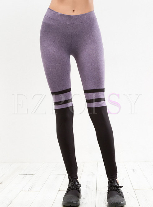 Color-blocked ELastic Fitness Yoga Pants