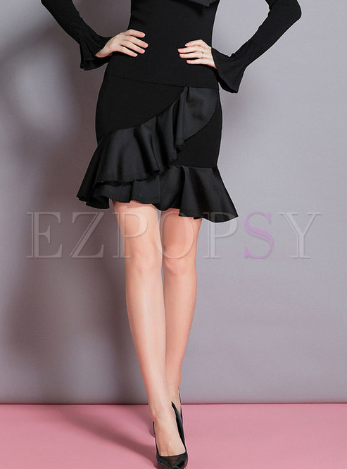 Autumn Black Ruffled Hem Mermaid Midi Skirt