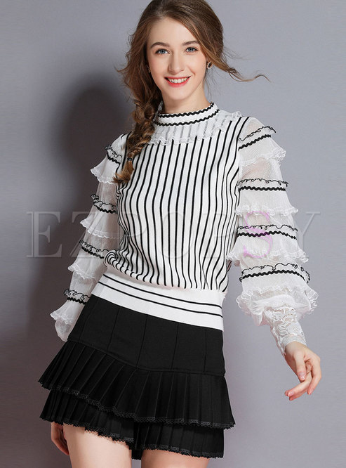 Stylish White Lantern Sleeve Double-layered Knitted Top