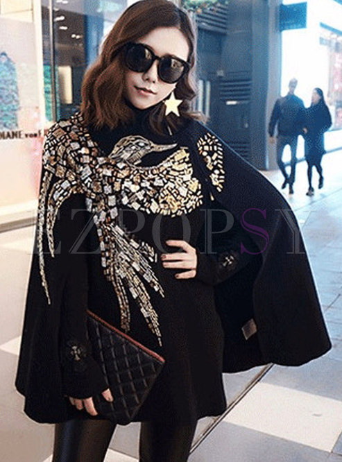 Trendy Eagle Pattern Embroidered Knitted Kimono