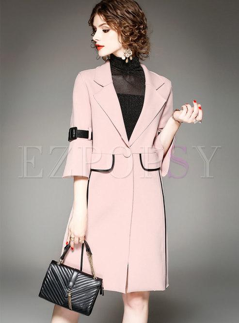 Trendy Pink Work Daily Slim Hairy Straight Coat