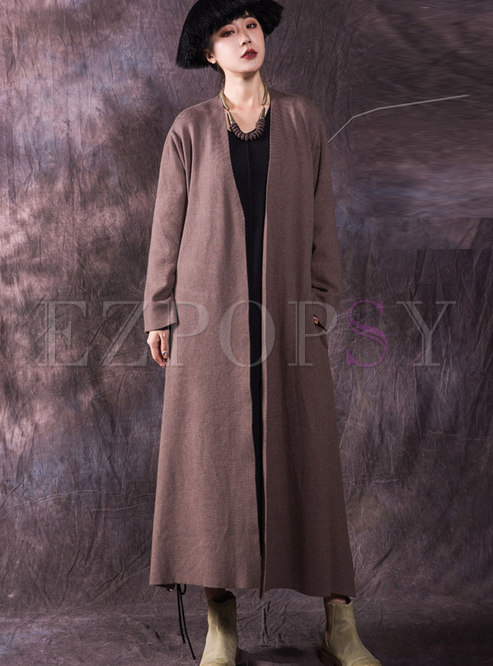 Winter Trendy Pockets Maxi Cardigan Sweater Coat With Belt