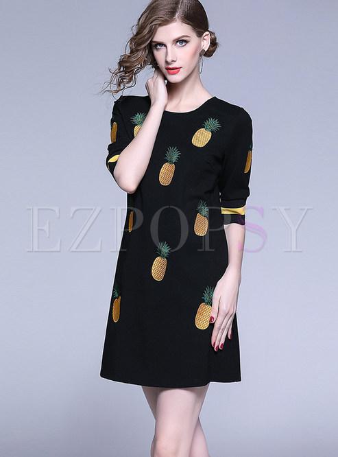 Half Sleeve Pineapple Print Mini Bodycon Dress