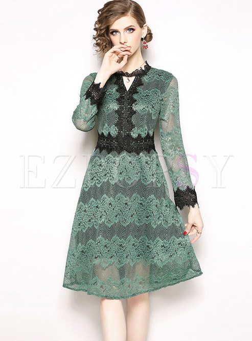 V-neck Long Sleeve Hollow Out Lace Skater Dress