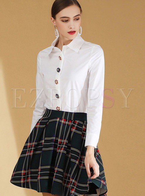 Work Ol White Turn Down Collar Buttoned Blouse
