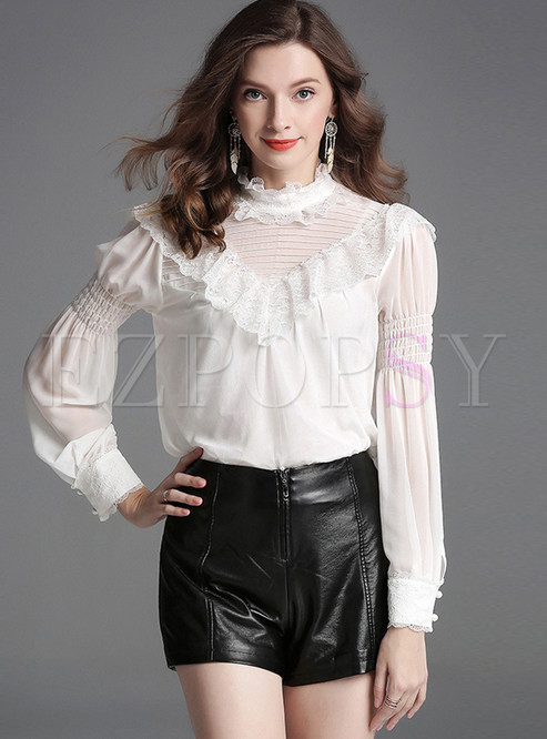 bd72104838fc72 Blouses.   Chic White Ruffled Collar ...