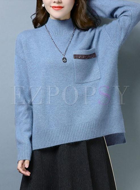 Stylish Turtle Neck Irregular Sweater With Pocket