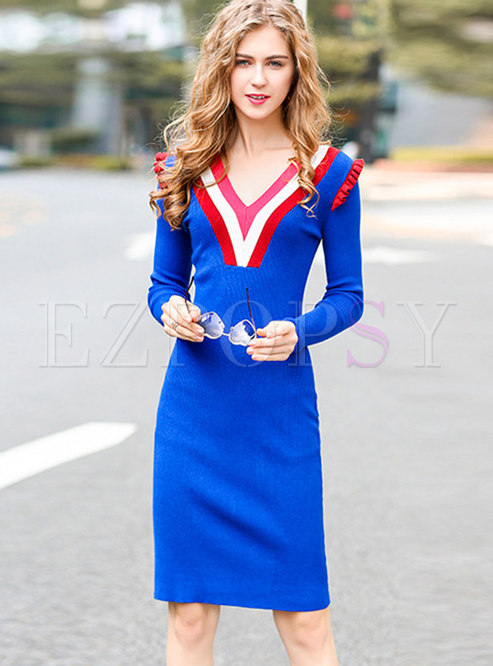 Color-blocked V-neck Knitted Bodycon Dress