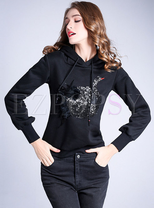 Chic Swan Pattern Hooded Tie Sweathshirt