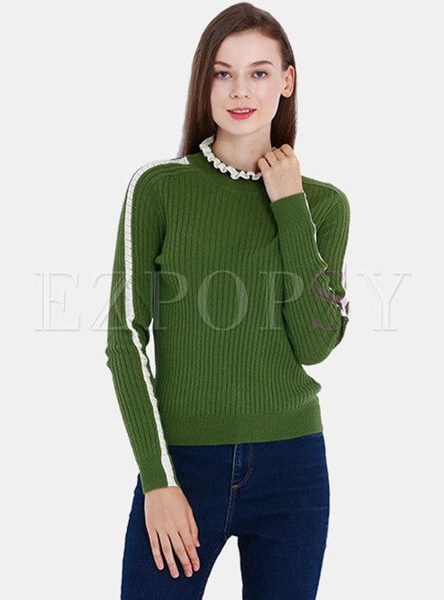 Color-blocked Ruffled Collar Slim Sweater