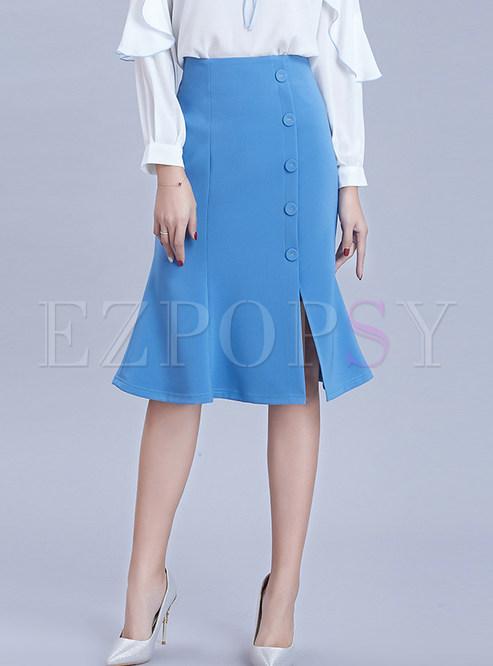 Pure Color Slit Knee-length Bodycon Mermaid Skirt