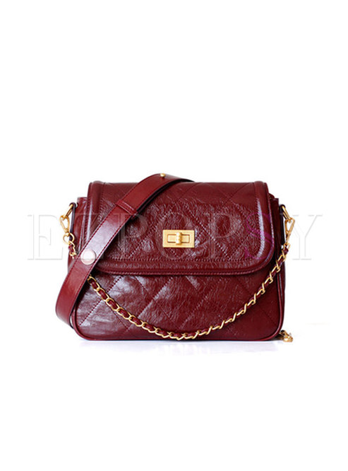 Wine Red Cowhide Clasp Lock Mini Crossbody Bag