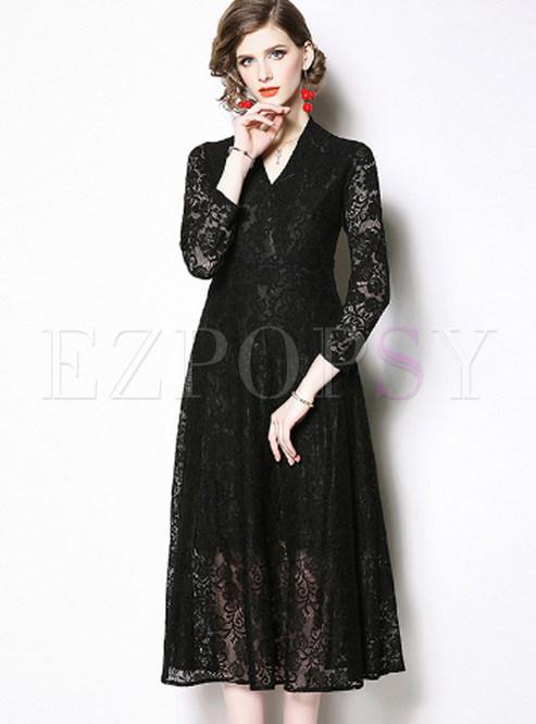 Retro V-neck Waist Big Hem Lace A Line Dress