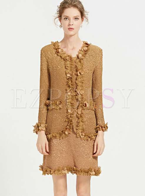 Fashion Solid Color Fringed Mini Skirt & Long Sleeve Coat