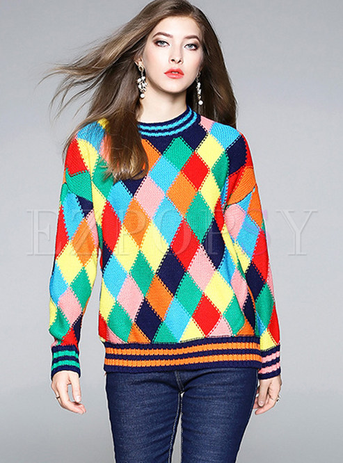 Crew Neck Plaid Color-blocked Pullover Sweater