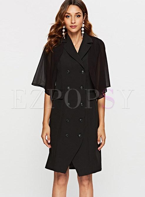 Chic Pure Color Notched Cloak Mini Bodycon Dress