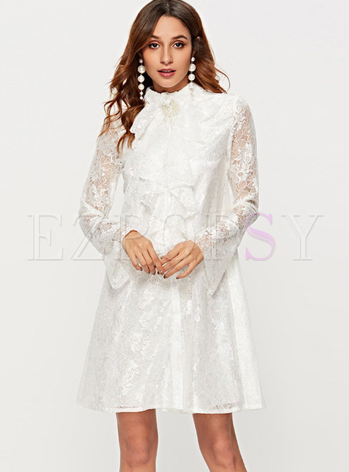 Solid Color Turtle Neck Flare Sleeve Lace Dress