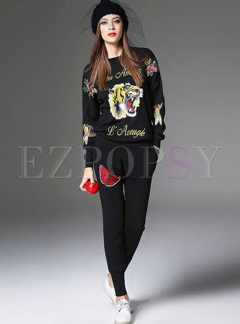 O-neck Pullover Knitted Top & Embroidered Pants