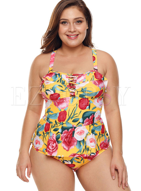 Fashion Hollow Out Falbala Print One Piece Swimwear