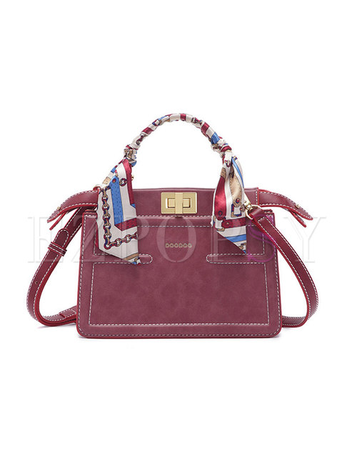 Autumn Purple-red Clasp Lock Top Handle Bag