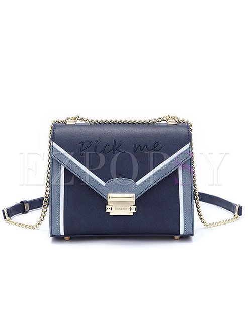 Deep Blue Hit Color Clasp Lock Chain Crossbody Bag