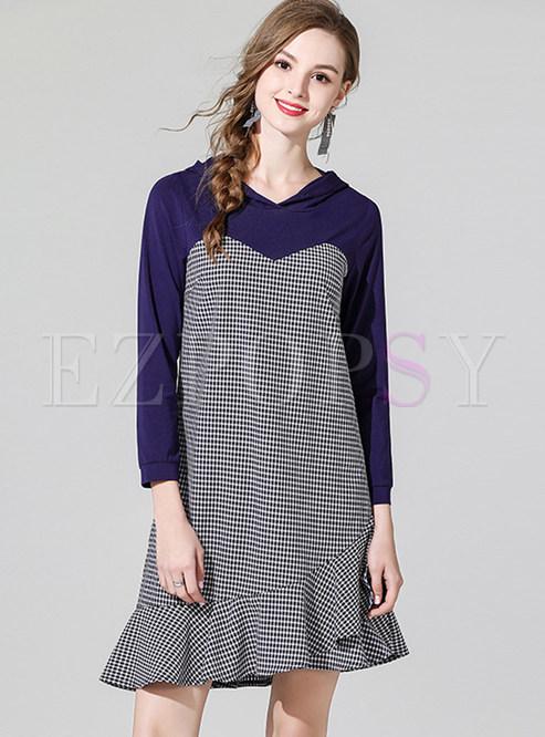 Stylish Hooded Long Sleeve Splicing Falbala Dress