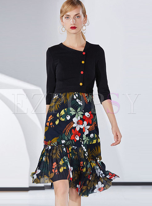 Ethnic V-neck Stitching Print A Line Dress