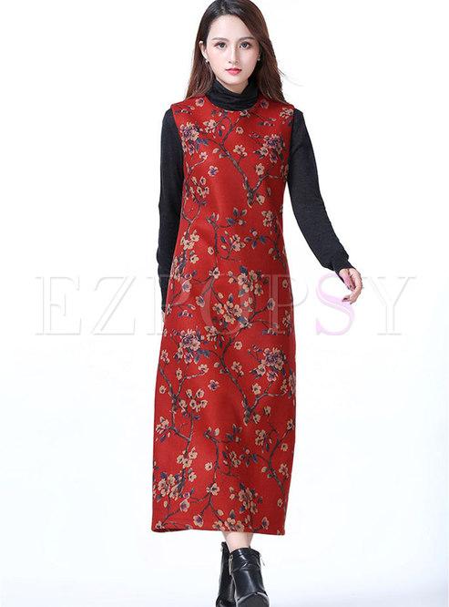 Ethnic Print O-neck Sleeveless Woolen Maxi Dress