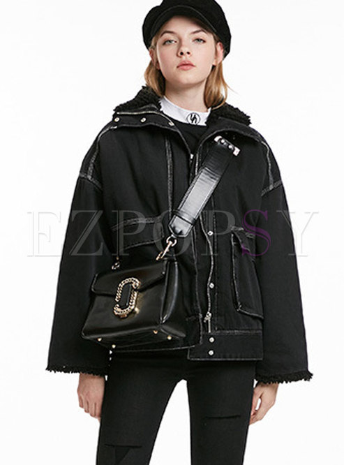 Black Denim Stand Collar Thicken Loose Coat