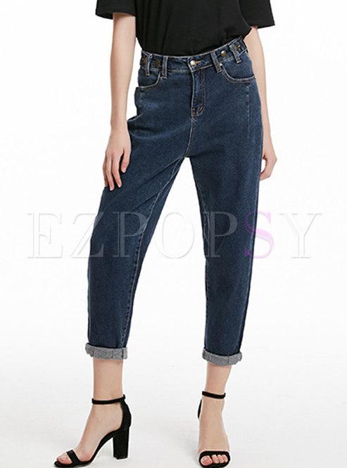 Fashion Deep Blue High Waist Elastic Denim Pants