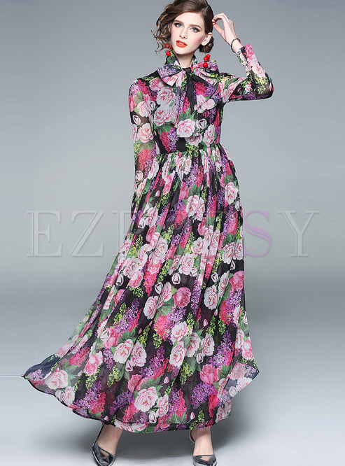 Bohemian Long Sleeve Bowknot Tied Chiffon Maxi Dress