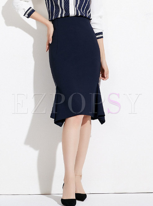 Casual Daily Royal Blue High Waist Mermaid Skirt