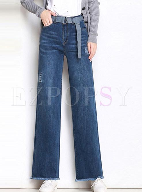 Deep Blue High Waist Holes Rough Selvedge Wide Leg Pants