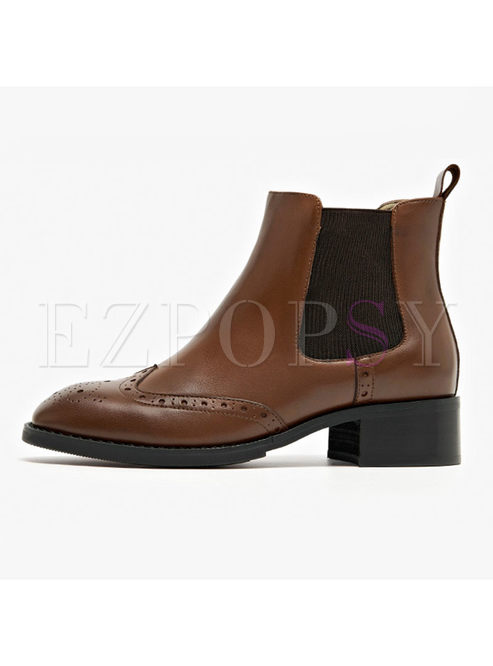 Winter Genuine Leather Chunky Heel Daily Boots
