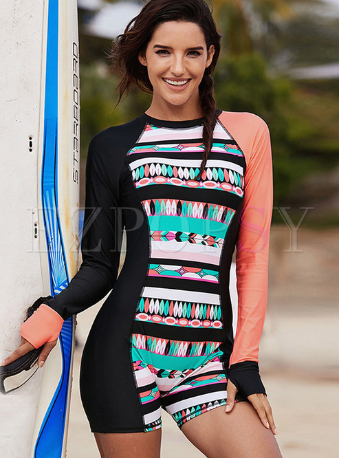O-neck Long Sleeve Conservative One Piece Swimwear